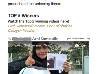 Menang Top 5 Unboxing Shaklee Youth Skincare Video Contest 2018